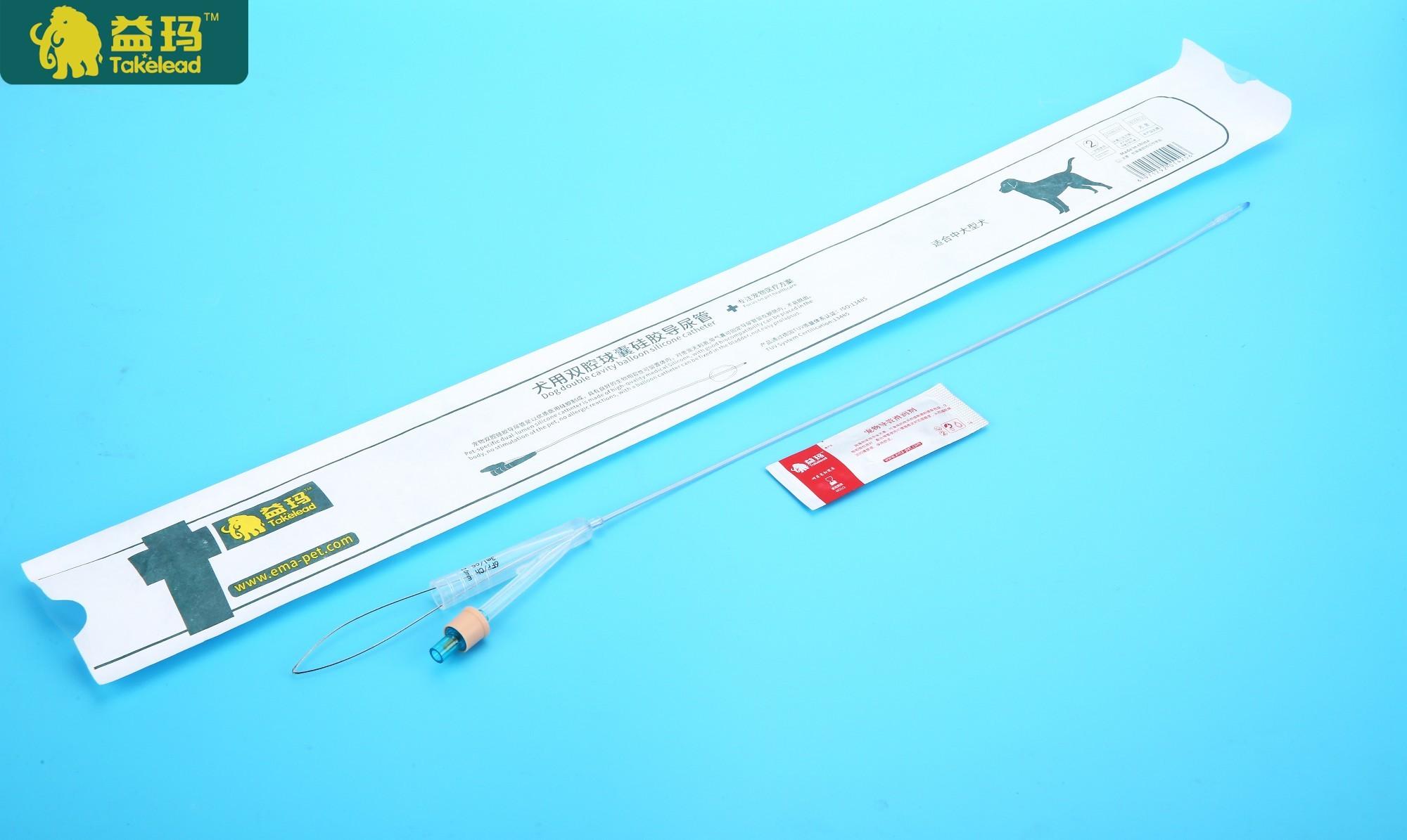 产品画室:小简介炭精长度双腔医用导尿管,规格技法:120mm~550mm,带动物肖像画硅胶——211球囊图片